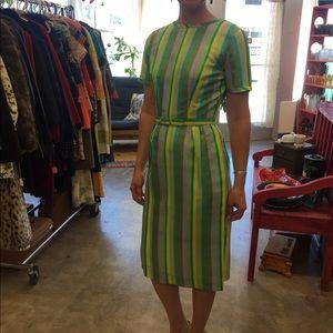 1950s Women's Green Striped Silk Dress with Belt S